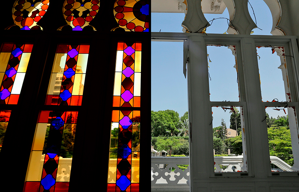 This combination of pictures created on August 10, 2020 shows (L) a view of the stained glass windows at the Sursock Museum, once a private home built in 1912 and became a host to an impressive permanent art collection as photographed in the neighbourhood of Ashrafiyeh in Lebanon's capital Beirut on October 5, 2015; and (R) an image of the museum taken on August 8, 2020, showing the empty windows after their stained glass was broken in the aftermath of the massive blast at the port of Beirut which ravaged entire neighbourhoods of the city. ANWAR AMRO, JOSEPH EID / AFP.