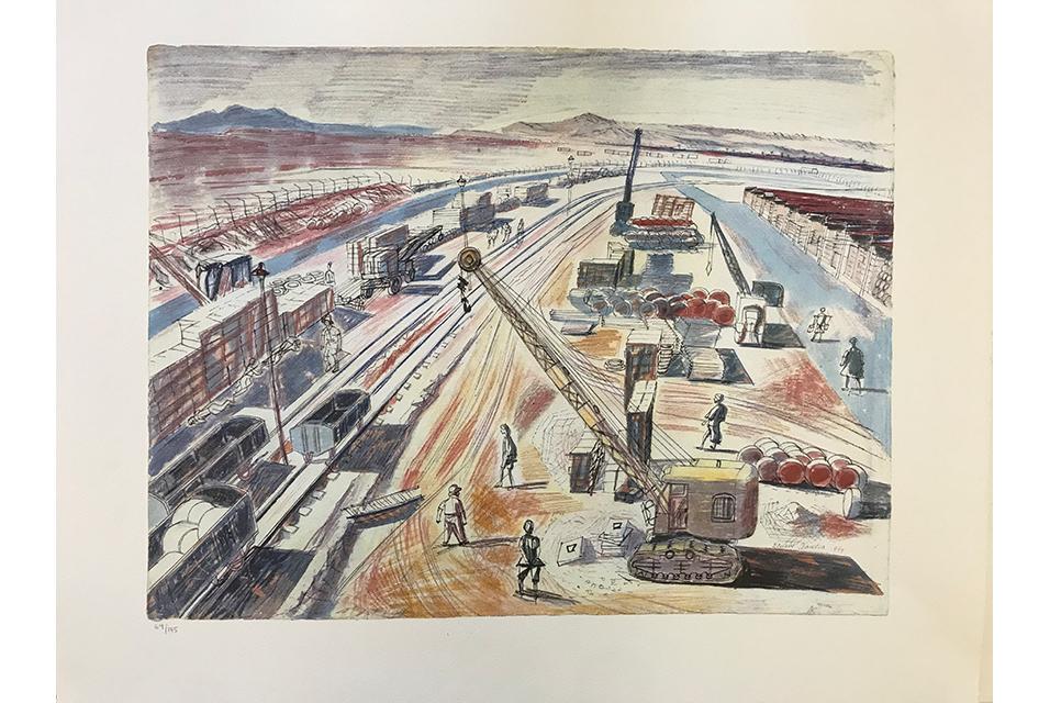 Edward Bawden CBE, RA (British 1903-1989) Aid to Russia; The Rail-Head at Khanagin, Iraq.