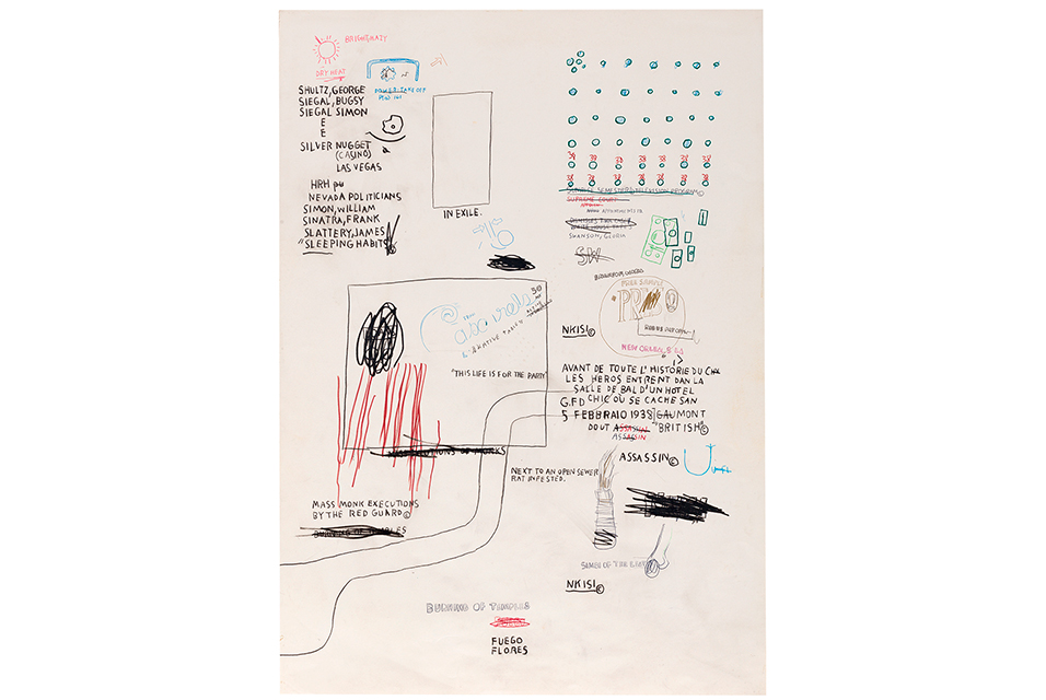 "Jean-Michel Basquiat, Untitled, 1987. Colored pencil and charcoal on paper. Signed and dated in charcoal sheet verso. Composition/sheet: 42"" x 29.5"". Estimate: $80,000-120,000."