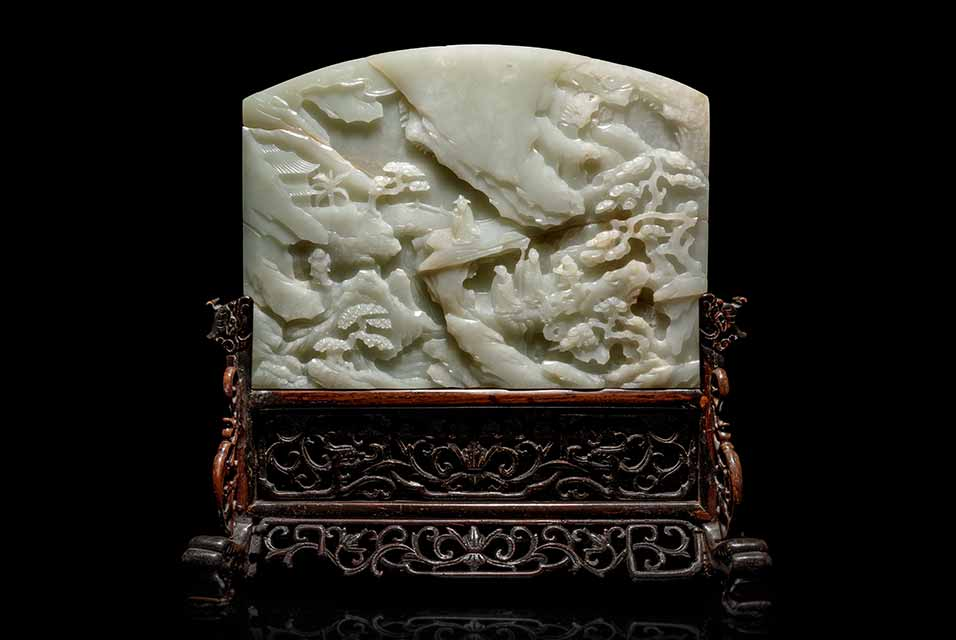 A Fine Pale Celadon Jade Table Screen. Height overall 11 7/8 x width 12 1/8 x depth 4 1/2 in., 30.16 x 30.8 x 11.43 cm. Estimate: $10,000.00 - $15,000.00