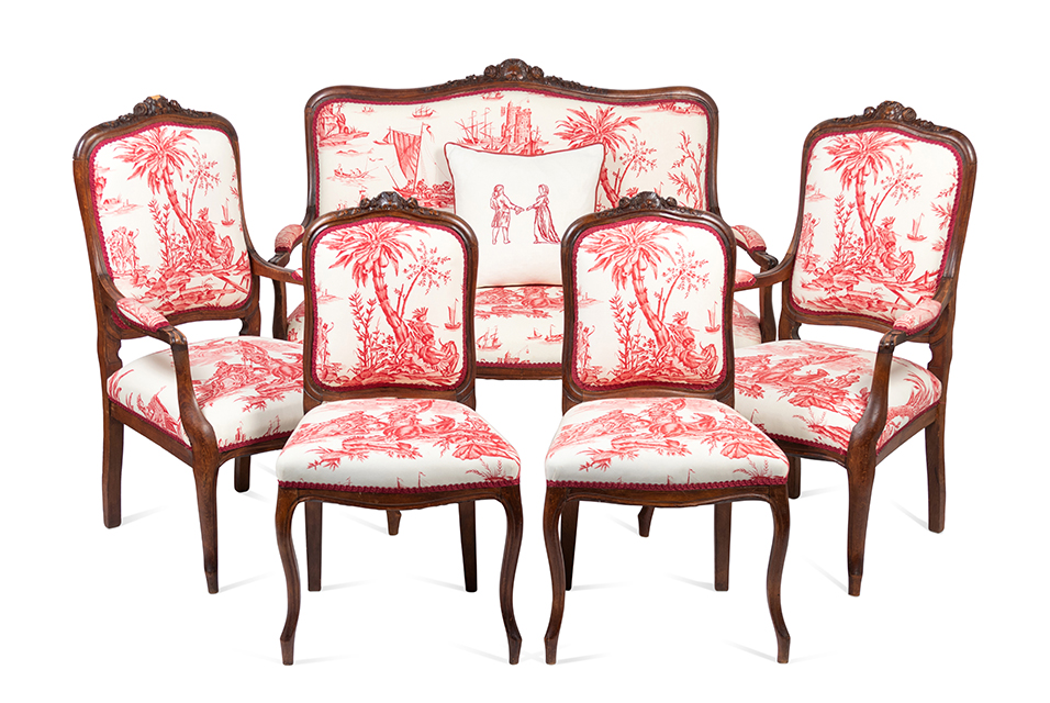 A Louis XV Style Walnut Five-Piece Seating Suite. Late 19th Century. Height of settee 40 x width 50 x depth 26 inches. Property from the Historic Sword Gate House, Charleston, South Carolina. Estimate: $1,000.00 - $2,000.00.