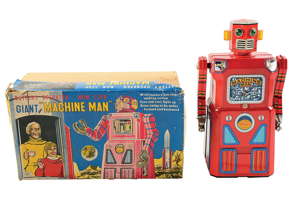 Very rare Masudaya (Japan) Machine Man Robot, lithographed tin, battery operated. VG-NM condition with very seldom-seen original pictorial box. Comes from original owner who received it as a child. Estimate $60,000-$90,000