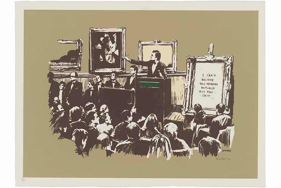Banksy, Morons (Sepia), 2007. Estimate: £20,000-30,000. © Christie's Images Ltd 2020.
