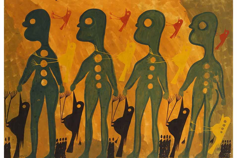 Carlo Zinelli, Quattro uomini verdi e uccelli su sfondo giallo (Four green men and birds on yellow background), 1963, tempera on paper, 20 x 27.5 inches, Collection of Oliana and Alessandro Zinelli.
