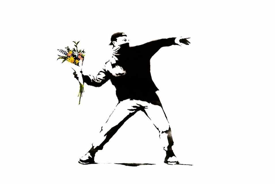 Banksy's 'Flower Thrower' graffiti work.