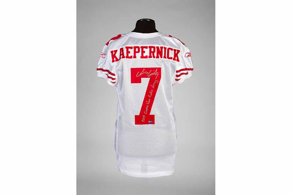 "The white Reebok ""7"" signed jersey by the former NFL quarterback, who became the face of this generation's new civil rights movement and an American cultural figure, is estimated to sell at $80,000 - $100,000."