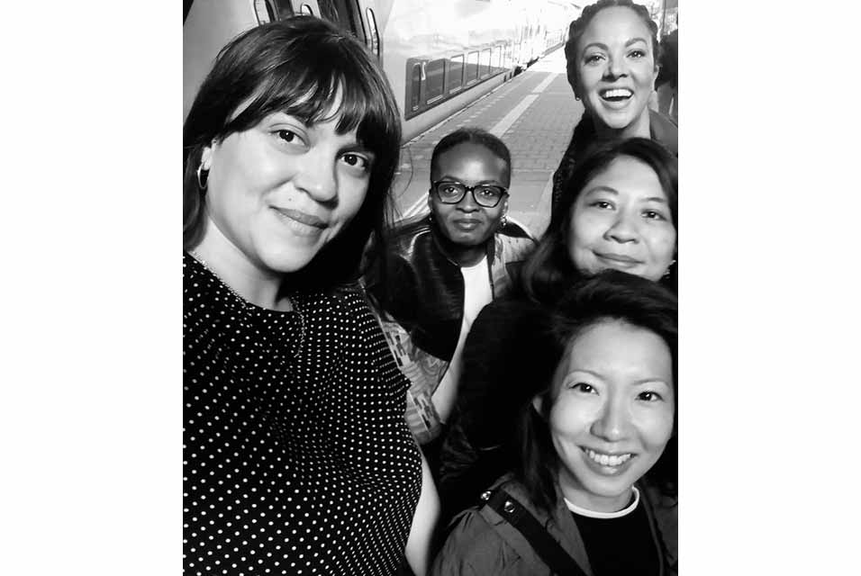 Hartwig Art Fund curators, 2020-21 special project year, from left to right then top to bottom: Sharmyn Cruz Rivera, Aude Christel Mgba, Rita Ouédraogo, Iris Ferrer, Jo-Lene Ong.
