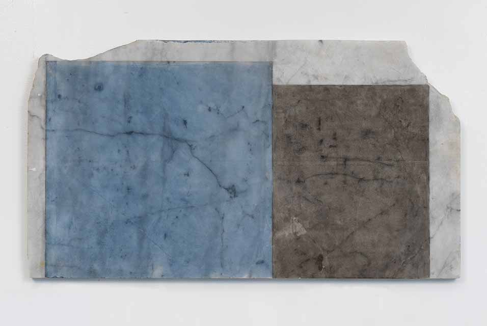 Brice Marden, Years 3, 2011. Oil on marble, 17 3/8 x 31 1/2 x 7/8 in. 44.1 x 80 x 2.2 cm © 2020 Brice Marden/Artists Rights Society (ARS), New York. Photo: Rob McKeever. Courtesy Gagosian.