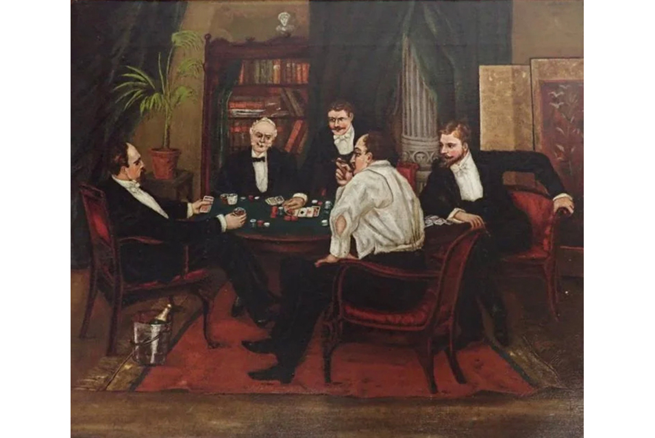 'Chips That Pass in the Night,' oil-on-canvas, 16.5 x 19.5in, possibly American or English. Titled, dated (1898) and artist-signed (indistinctly) on back of frame. Estimate $3,000-$4,000.
