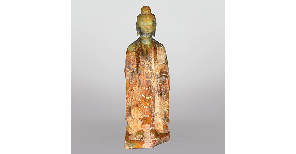 Lot 30 Northern Wei Dynasty, A Very Rare Jade Carving of a Standing Sakyamuni Maitreya
