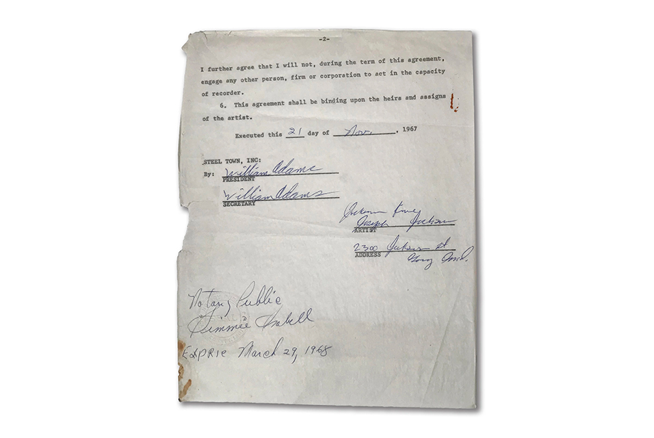 The Jackson 5's First Label Contract. Estimate $50,000 - $100,000.