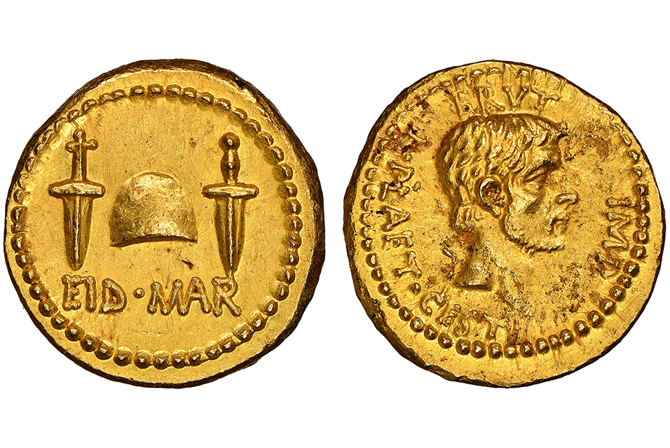 "Et tu Brute? Authenticators in the United States and United Kingdom confirm the third known gold ""Ides of March"" coin. Photo: Numismatic Guaranty Corporation."