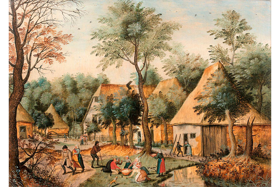 "Dubbed ""Farmers' dinner in the open air"", the picture sold Wednesday represents a village scene from the early 17th Century."