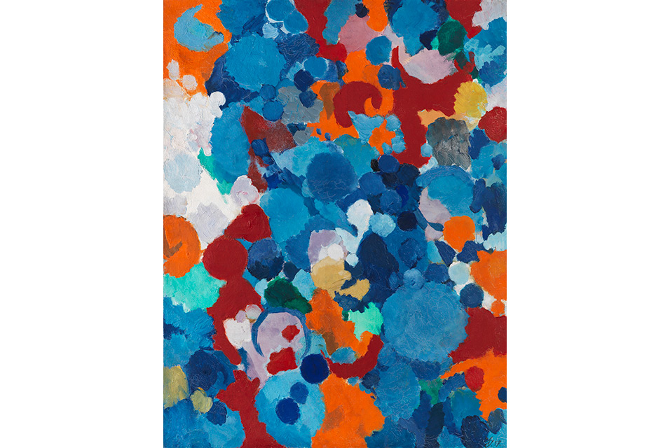 Ernst Wilhelm Nay, Blau bewegt. Oil on canvas, 1957. 115 x 87,5 cm / 45,2 x 34,4.7 inches. Estimate: € 200,000-300,000.