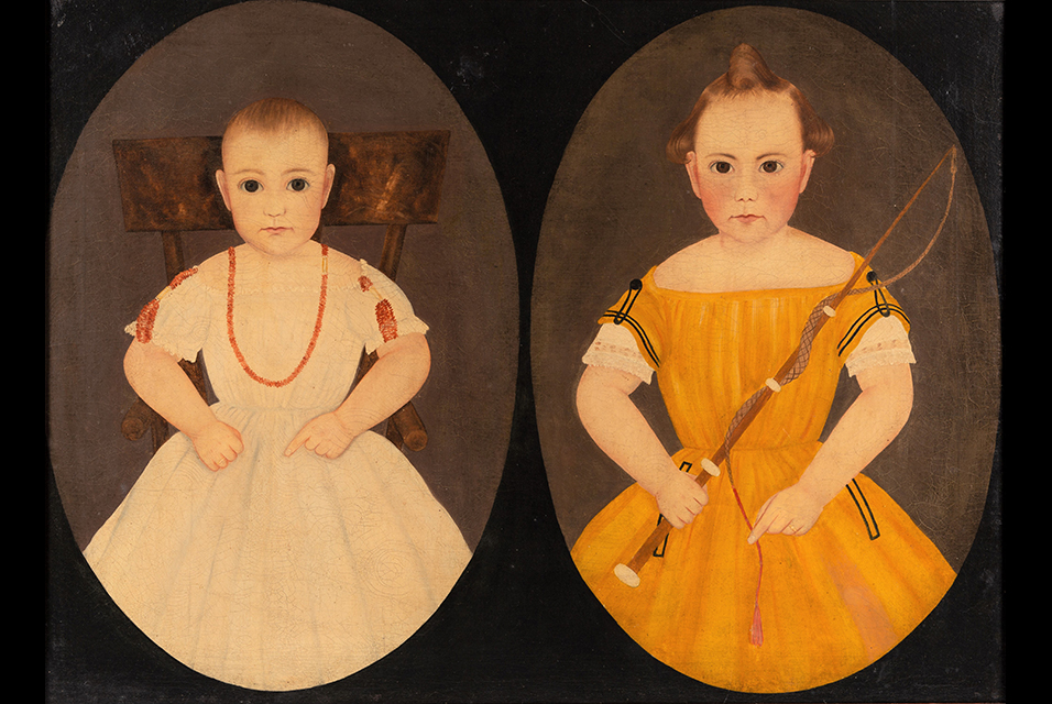 John James Trumbull Arnold folk art double portrait, Lot 2124, $81,900.