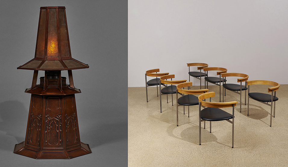 [left] LOT 20: Frank Lloyd Wright, table lamp. Estimate $80,000-120,000. Tradition & Innovation, December 3, 2020. Toomey & Co. Auctioneers, Oak Park, Illinois  [right] LOT 32: Poul Kjærholm for E. Kold Christensen, PK 11 dining chairs, set of eight. Estimate $30,000-50,000. Tradition & Innovation, December 3, 2020. Toomey & Co. Auctioneers, Oak Park, Illinois.