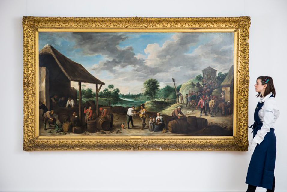Unseen for over a century, 'The Wine Harvest' by David Teniers the Younger emerges from a private collection. Courtesy Sotheby's.