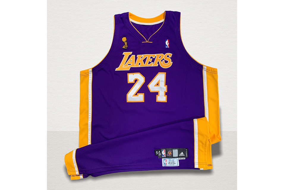 2009 Kobe Bryant Los Angeles Lakers NBA Finals game-used road jersey, Championship & Finals MVP season. Photo-matched, NBA LOA. Photo: Courtesy Grey Flannel Auctions.