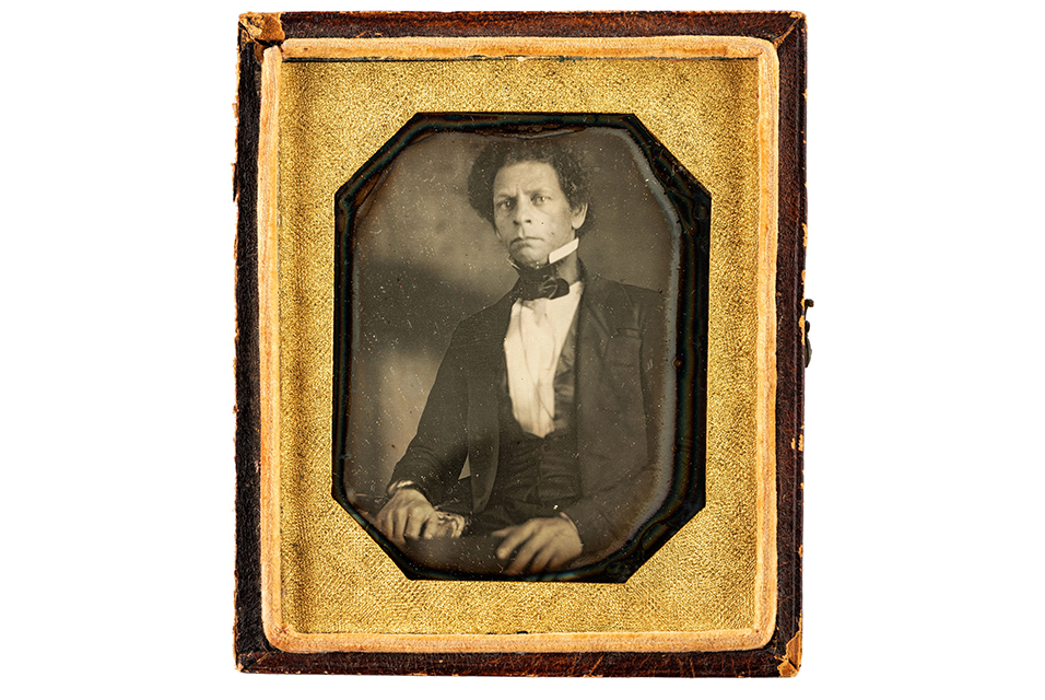 Sixth plate daguerreotype of Joseph Jenkins Roberts, the first and seventh president of Liberia. N.p., ca 1840s. Estimate: $10,000 - 15,000.
