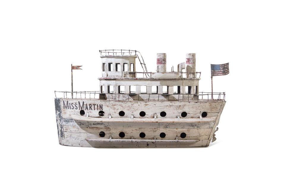 A Large Carved and Painted Miss Martin Ship Form Bird House, American, 20th Century.