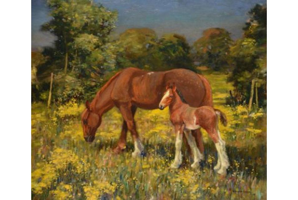 Horses in a Norfolk Landscape by Edward Seago (1916-1971). Est. £8,000 - 12,000.