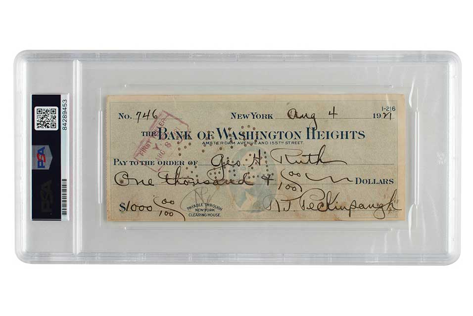 Babe Ruth and Roger Peckinpaugh Signed Check. Now at: $5475.