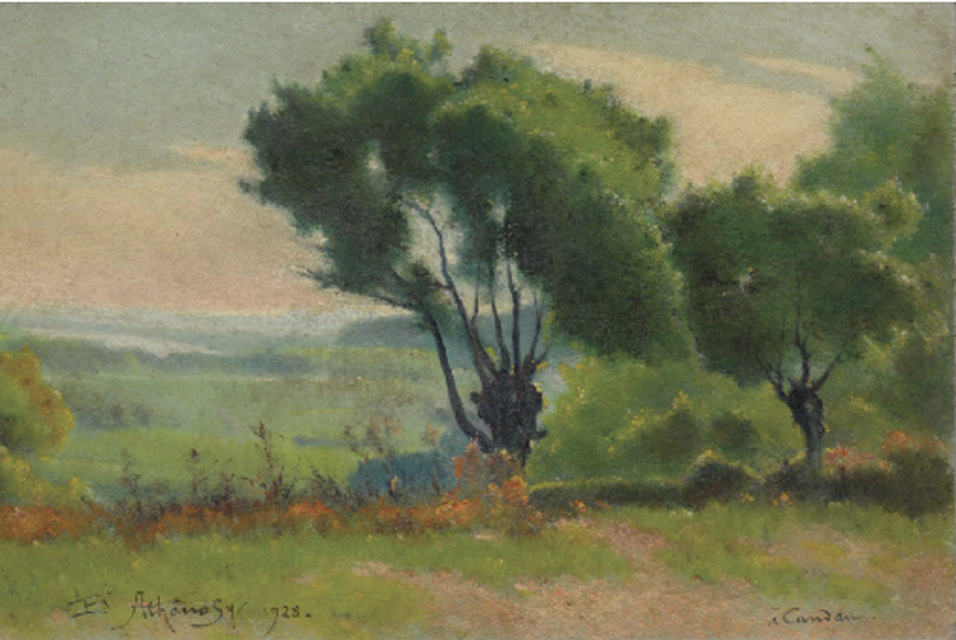 Edouard Athénosy, Inspired by Corot, 1928, Candau, Les Angles, France, oil on board, 12 x 18 cm, 4 3/4 x 7 1/8 in © Colnaghi.