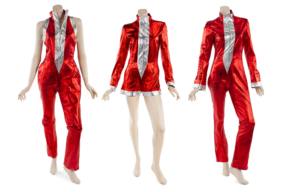 """""""Independent Women Part 1"""" music video costumes left to right worn by Beyoncé Knowles, Kelly Rowland and Michelle Williams of Destiny's Child."""