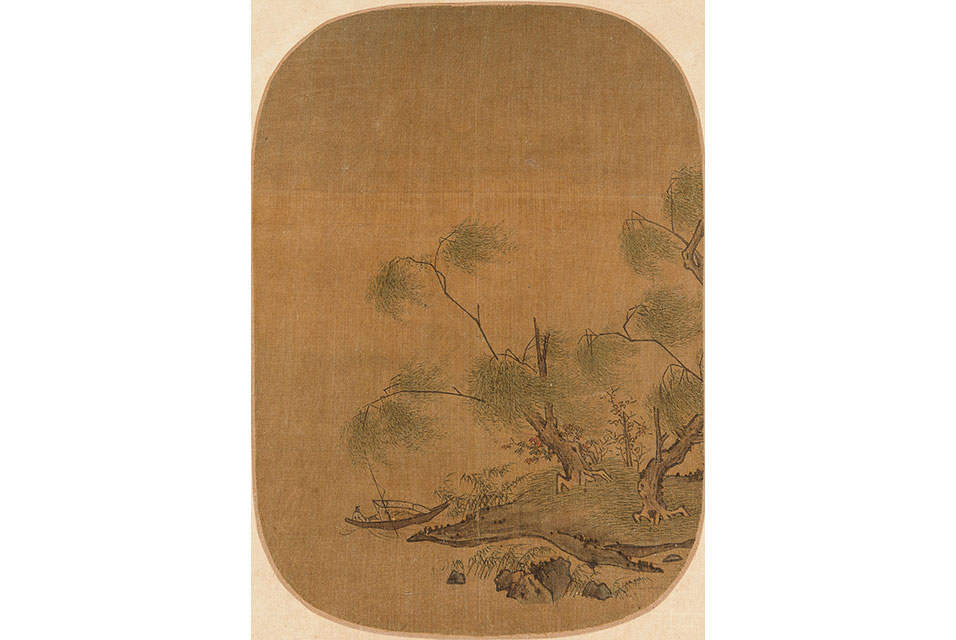 Willows on Riverbank. Attributed to Zhao Danian. From Five Loose Album Leaves Depicting Landscapes, Birds and Flowers. Price realized (for all album leaves): $175,000.
