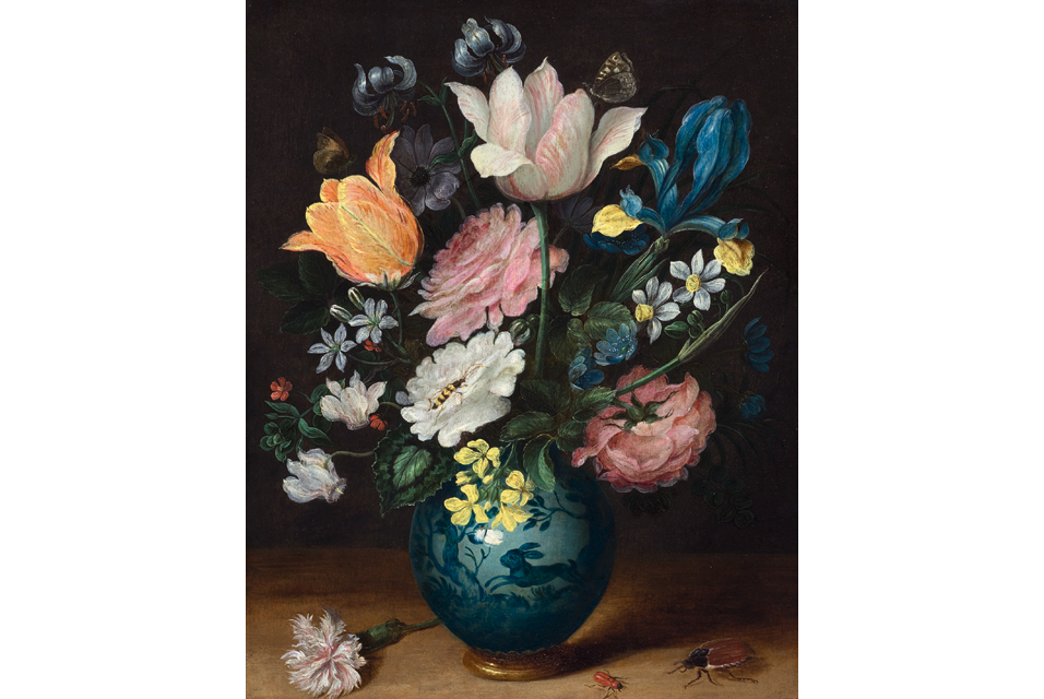 Jan Brueghel The Younger, Bouquet of flowers in a porcelain vase.Oil on copper. 28.4 × 23.2 cm.Sold for CHF 122 000.